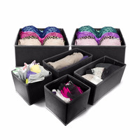 Set of 6 Drawer Bin Set - Closet / Dresser Storage Drawer Organizer Basket for Bras, Socks, Underwear, Tie, Scarves, Gloves