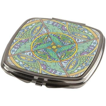 DCCKJY1 Mandala Trippy Stained Glass Chameleon Compact