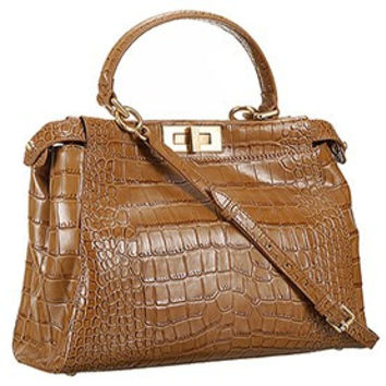 Fendi Small Peekaboo Tan Leather Bag 608303