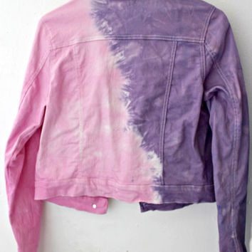 Ombre Dip Dye Purple and Pink Womens or Girls Med Denim Jacket Upcycled Forever 21
