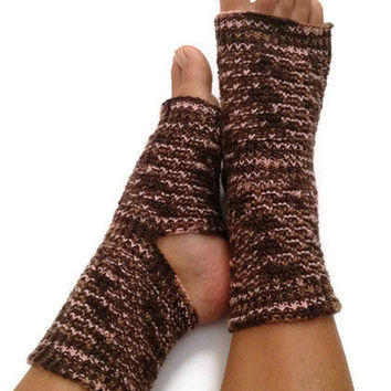 Toeless Yoga Socks Hand Knit in Pink and Brown Pedicure Pilates Dance