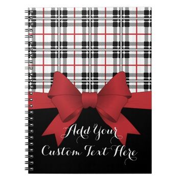 Red Black Tartan Plaid and Ribbon Girly Cute Kids Spiral Notebook