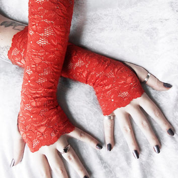 Bonfire Lace Arm Warmers | Rust Burnt Orange Floral | Wedding Bridal Lace Gloves Fox Woodland Pumpkin Mori Gothic Victorian Belly Dance Goth
