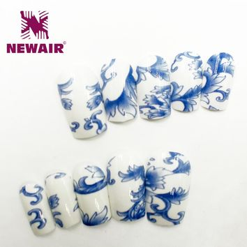 New Water Transfer False Nails Blue Flower Pattern Shiny Classic Nail Art Tips Full Cover Long Fake Nails Free Shipping