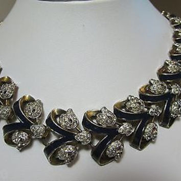 "Vintage Trifari Rhinestone Flower & Enamel Necklace Collar ""Empress Eugenie"""
