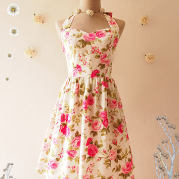 Pink Floral Tea Dress Pink Floral Dress Vintage Inspired Floral Tea Dress Romantic Party Prom Dress Floral Pink Bridesmaid Dress -Size S,M,L