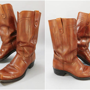 Vintage 1970s Boots / Landis Boots / Brown Leather Boots / Square Toe Boots / Western Boots / Cowboy Boots / Size 11 / Style 12-94069-9-04