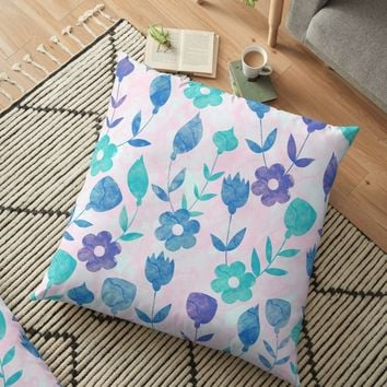 'Floral #8' Floor Pillow by Amir Faysal