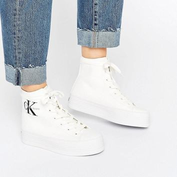 Calvin Klein | Calvin Klein Jeans Zabrina White Canvas Hi Top Trainers at ASOS