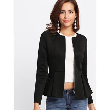 Women's Black Zip Up Box Pleated Peplum Jacket
