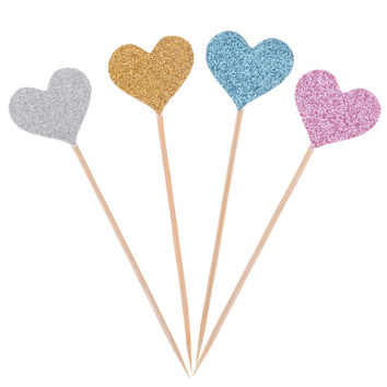 ASLT 40pcs bag 8 Colors love cupcake topper birthday topper baby shower cake topper wedding party inserted card decorative DIY