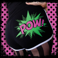 Roller Derby Shorts, Roller Derby Hotpants, Pow, Black, hot pink, green. Comic Art.