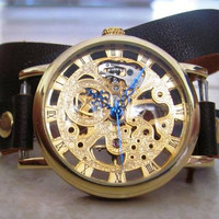 New Classic Skeleton hand-wind Mechanical Leather Band Gold Wrist Watch. 20% Off -79 Dollars Only FREE SHIPPING