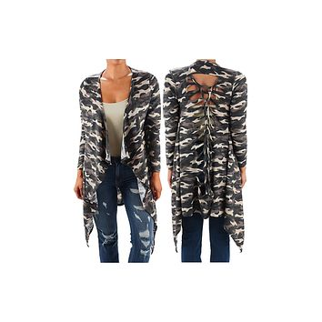 Funfash Women Camo Black Kimono Braided Duster Cardigan Long Sleeves Sweater