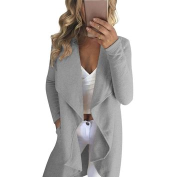 Turn-down Collar Open Stitch Cute Women Long Cardigan Ladies Sweater