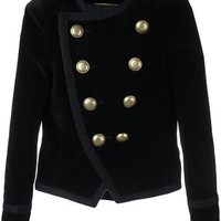 Saint Laurent 'Spencer' Cropped Velvet Blazer - Farfetch