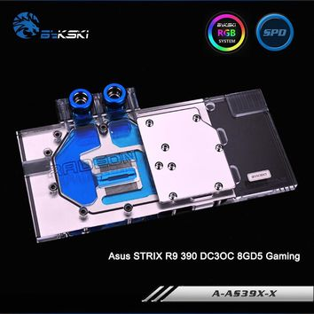 Bykski A-AS39XDC3-X  Full Cover Graphics Card Water Cooling Block RGB/RBW/ARUA for Asus STRIX R9 390 DC3OC 8GD5 Gaming