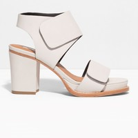 & Other Stories | Block Heel Sandals | Light Grey