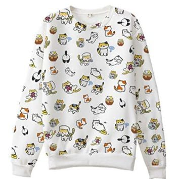 Game Neko Atsume Cute Cat Sweater Cotton Polyester Unisex Sweatshirt