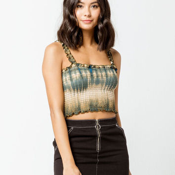 EMORY PARK Tie Dye Smocked Olive Womens Cami