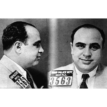 Al Capone Mug Shot poster Metal Sign Wall Art 8in x 12in Black and White