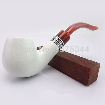 E3001 Hot Selling 14cm Hookah Vintage Durable sepiolite Stone Style Cigar Cigarette Smoking Tobacco Pipe free shipping