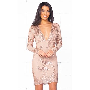 Glowing Nights Beige Gold Sequin Floral Long Sleeve Plunge V Neck Bodycon Mini Dress
