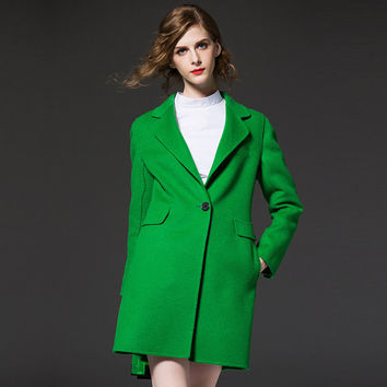 Green  wool coat ,Winter wool coat ,Woman coat,Custom wool coat, Cashmere coat,Woollen coat,Long wool coat, Women Overcoat,65212
