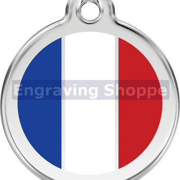 French Flag Enamel and Stainless Steel Personalized Custom Pet Tag with LIFETIME GUARANTEE ID Tag Dog Tags and Cat Tags Free Engraving