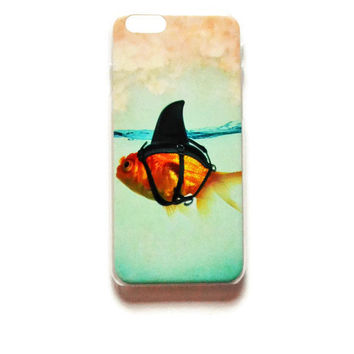 iPhone 6 Case Goldfish iPhone 6 Hard Case Shark Fin Back Cover For iPhone Goldfish In Shark Costume 6 Slim Design Case Funny 6927