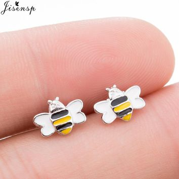 Jisensp Cute Bee Earrings for Women Colorful Bumble Bee Insect Shaped Stud Earrings Animal Boucle d'oreille Kids Gifts Jewelry