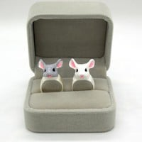 Fashion Animal Zinc Alloy Ring Cute Hamster Alloy Rings for Women and Girls Wedding Accessories