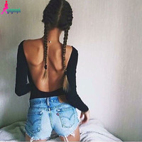 2016 Autumn Backless Rompers Sexy Long Sleeve Women Bodysuit Black Crop Tops Blusa Free Shipping American Apparel