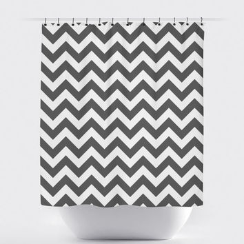 Gray/White Chevron Shower Curtain