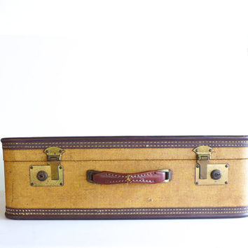 Vintage Suitcase, Brown Tweed, Old Suitcase for Display, Luggage for Stacking