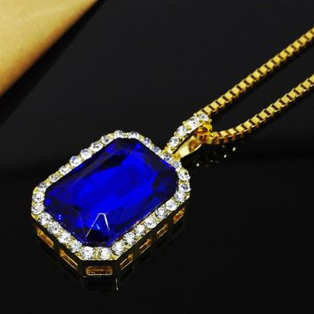 2017 New Bling Faux Lab Blue Stone Pendant Necklace Iced Out Rock Rap Hip Hop Jewelry