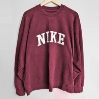 NIKE Fashion Casual Burgundy Long Sleeve Sport Top Sweater Pullover Sweatshirt