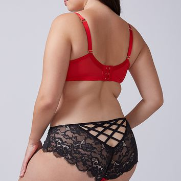 Satin & Lace Caged-Back Cheeky Panty | Lane Bryant