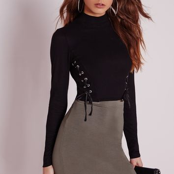 Missguided - Long Sleeve Lace Up Crop Top Black