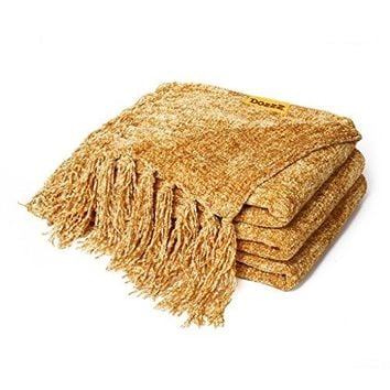 DOZZZ Decorative Chenille Thick Throw Blanket w/Fringe Cozy Solid Blanket 60 x 50 Inch, Gold