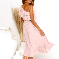 One Shoulder Women Dress Solid Pink Ruffle Vintage Party Dresses Elegant Long Beach Dress