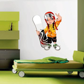 cik1421 Full Color Wall decal girl snowboard snowboarder sports hall bedroom sports shop