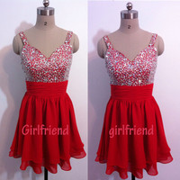 Cute Red Chiffon Beaded Prom Dress, Floor-length Homecoming Dress