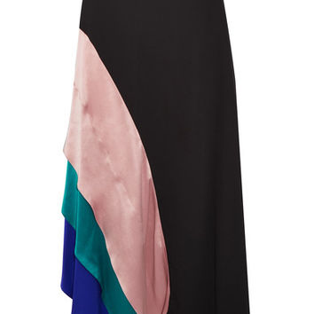Roksanda - Asymmetric satin-trimmed silk midi skirt