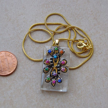 Clear glass tile Sparkling Pendant 1 1/4 inch rectangle w rainbow gold glittery dots design necklace with chain