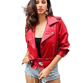 Simplee Women's Casual Loose 3/4 Sleeve Oversized Faux Leather PU Jacket Coat