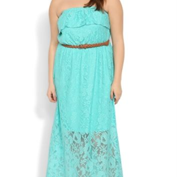 Plus Size Crochet Lace Maxi Dress with Belted Waist and Ruffle Bodice