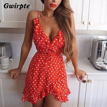 Stars Print Camis Dress Women Sexy White Wrap Bodycon Casual Rustic Summer Style Boho Resort High Waist Red Polka Dots Dresses