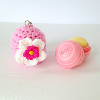 EOS Lip Balm Cozy/Holder with Split Ring and  Clasp - Pink with Flower