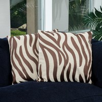 "18"" Brown Zebra Print Decorative Throw Pillows (Set of 2)"